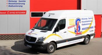 Das Firmenfahrzeug von LS Haustechnik für Heizungs und Sanitärinstalateure